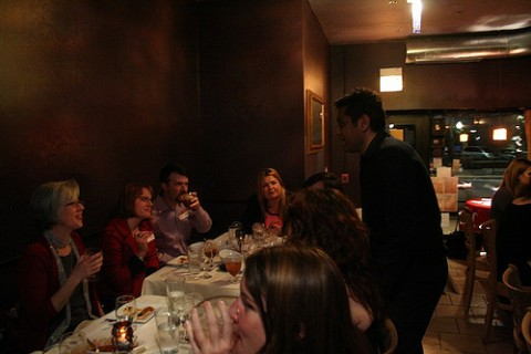 Group of diners eating at Kama Bistro