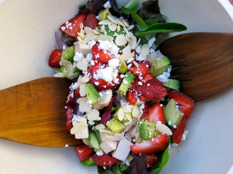 Mixed Greens & Strawberry Salad with Chicken, Goat Cheese & Avocado