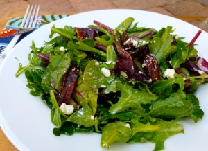Mixed Greens with Dates & Goat Cheese