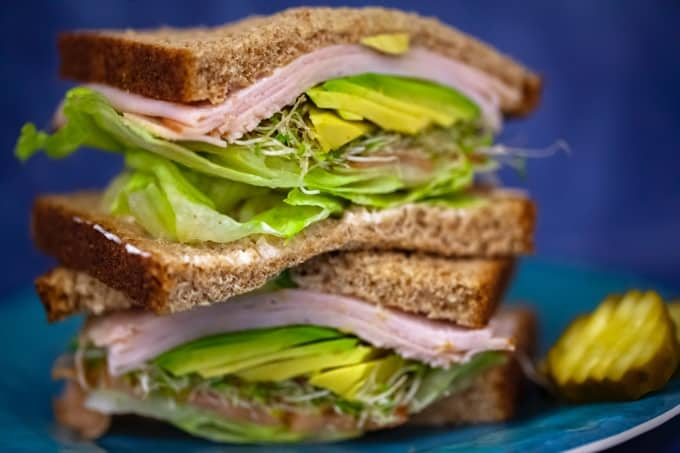 Ham Sandwich on Whole Wheat Bread with Lettuce, Avocado & Sprouts