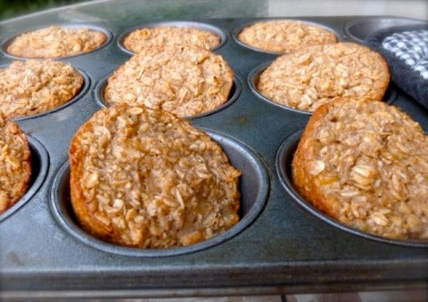 Healthy Baked Banana Bread Oatmeal Muffins in a muffin tin