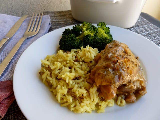 Slow Cooker Chicken Thighs with Rice & Broccoli