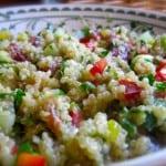 Southwest Stoplight Quinoa Salad decorative bowl close up