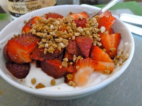 Bowl of Strawberries, Yogurt and Crunchy Grapenuts Cereal
