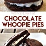VitaTop Deep Chocolate Whoopie Pie next to whoopie pie cut in half