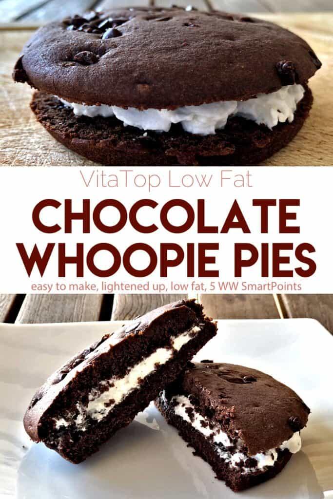 VitaTop Deep Chocolate Whoopie Pie next to whoopie pie cut in half