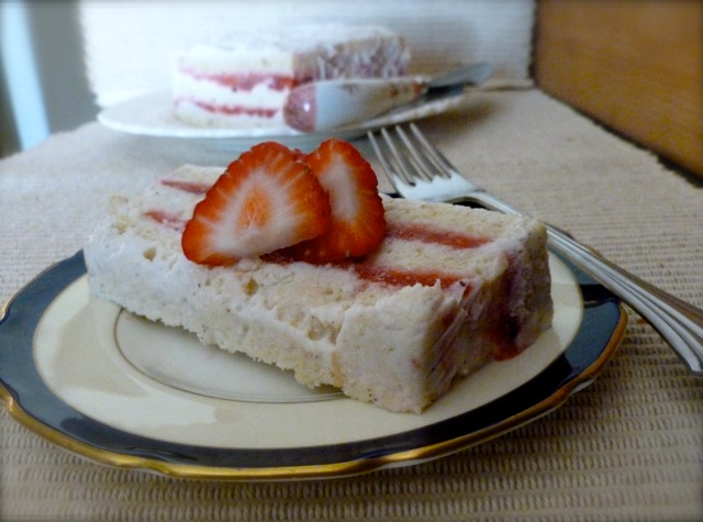Light Frozen Strawberry Layer Cake