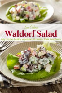 Skinny waldorf salad on butter lettuce leaf with another salad in the background.