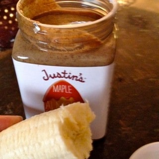 Banana Half with Justin's Almond Butter