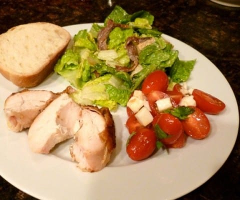 Roast Chicken, Caesar Salad & Caprese Salad