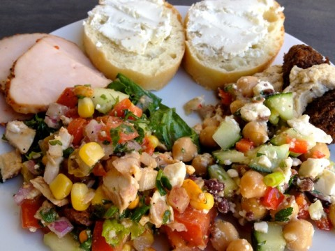 Chickpea & Feta Salad, Turkey and Bread with Goat Cheese