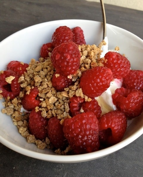 Plain Greek Yogurt with Honey, Raspberries & Grapenuts