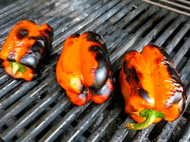 Roasting Whole Red Peppers on the grill