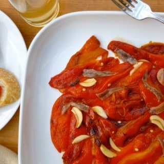 Roasted Red Bell Peppers with Anchovies
