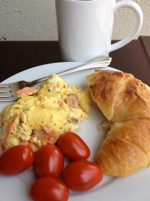 Scrambled Eggs, Salmon, Tomatoes & Croissant Half