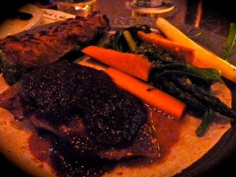 Sesame Seed Crusted Salmon with Apple Chile Glaze and Vegetables
