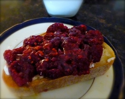Toast with Raspberries & Light Cheese