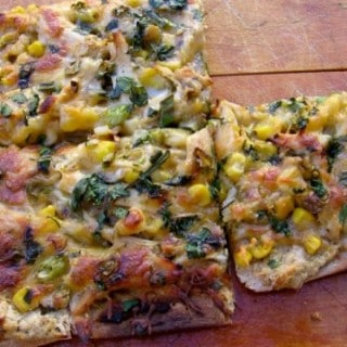 Chicken Flatbread Recipe with Salsa Verde, White Beans and Corn