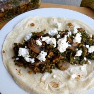 Lentil, Mushroom and Kale Burritos