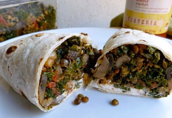 mushroom lentil kale burrito