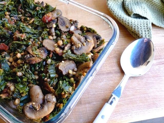 Lentil, Mushrooms and Kale in glass dish for make vegetarian burritos