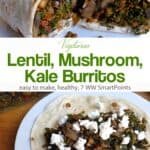Vegetarian burrito stuffed with lentils, mushrooms, kale and crumbled goat cheese