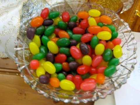 Crystal dish of jelly beans