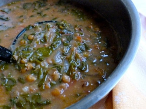 Pot of Lentil Swiss Chard Soup