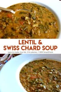 Lentil Swiss Chard soup in a white bowl with spoon.