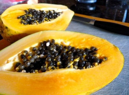 Fresh Papaya for papaya ginger smoothi