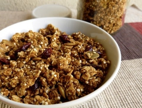 Bowl of Pumpkin Granola with Quinoa, Cranberries & Pepitas