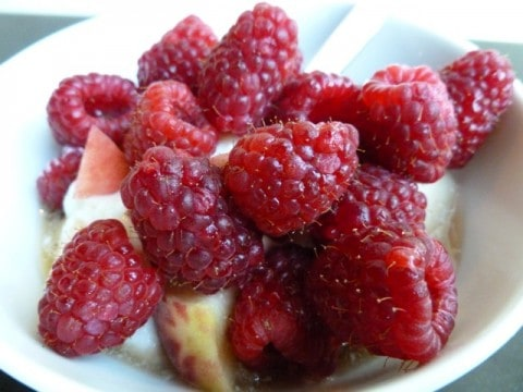 Fresh Raspberries and Yogurt