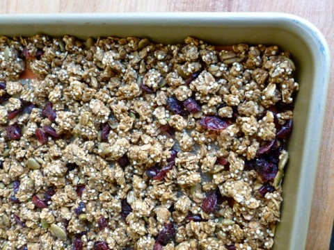 Skinny Pumpkin Granola with Quinoa and Cranberry