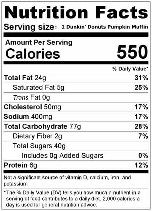 Dunkin' Donuts Pumpkin Muffin Nutrition Label