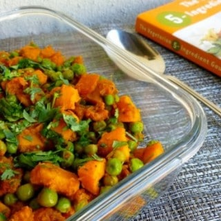 Skinny Curried Sweet Potatoes with Green Peas