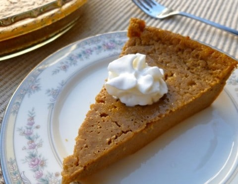 low fat impossible pumpkin pie slice
