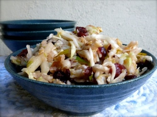 Weight Watchers Apple Slaw in a blue ceramic bowl