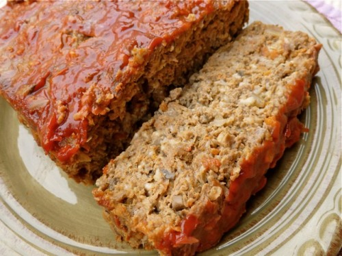 Slice of Homemade Meatloaf on a dinner plate