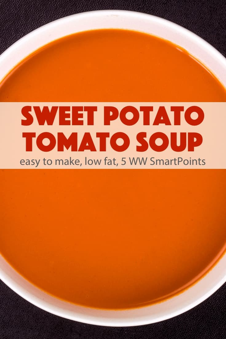 A simple and delicious low fat Sweet Potato Tomato Soup made from sweet potatoes, broth, tomatoes and orange juice - just 157 calories and 5 Weight Watchers Freestyle SmartPoints! #simplenourishedliving #ww #weightwatchers #wwfamily #wwsisterhood #wwsupport #wwcommunity #easyhealthyrecipes #smartpoints #wwfreestyle #wwsmartpoints #beyondthescale #becauseitworks