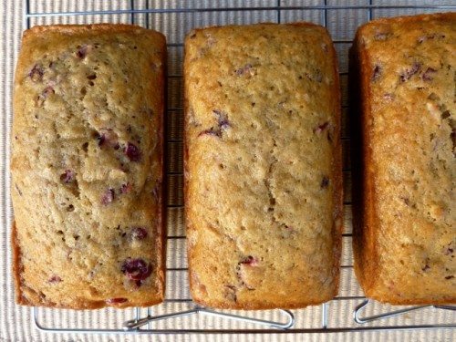 Mini Cranberry Nut Bread Loaves sitting on a baking rack