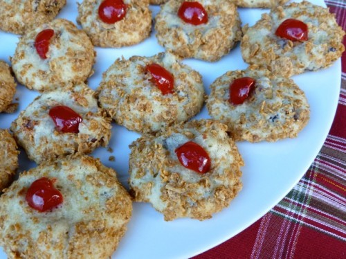 Old-Fashioned Wheaties Cherry Blinks cookies on white plate.