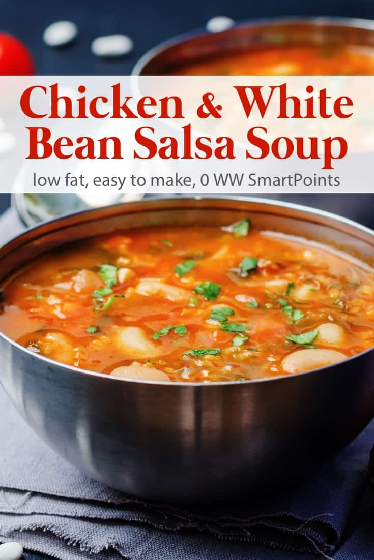 Quick and easy chicken white bean salsa soup comes together quickly with just a handful of common ingredients - just 159 calories and 0 Weight Watchers Freestyle SmartPoints! #simplenourishedliving #ww #weightwatchers #wwsisterhood #easyhealthyrecipes #smartpoints #wwsmartpoints #wwfreestyle #soup #beyondthescale #wwcommunity