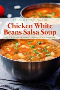 Two bowls of chicken white bean salsa soup on blue placemats.