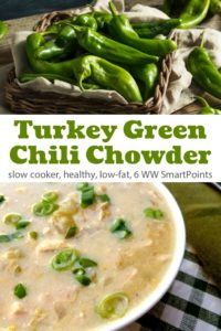 Basket of green chiles near bowl with turkey green chile chowder.