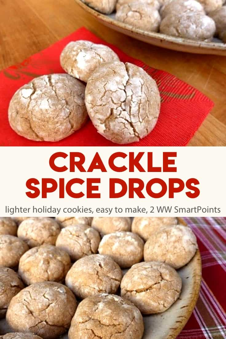 With less butter and sugar than a classic cookie recipe, these Crackle Spice Drops bake up not-too-spicy and not-too-sweet - 51 calories and 2 WW Freestyle SmartPoints each! #cracklespicedrops #cracklecookies #spicecookies #cookies
