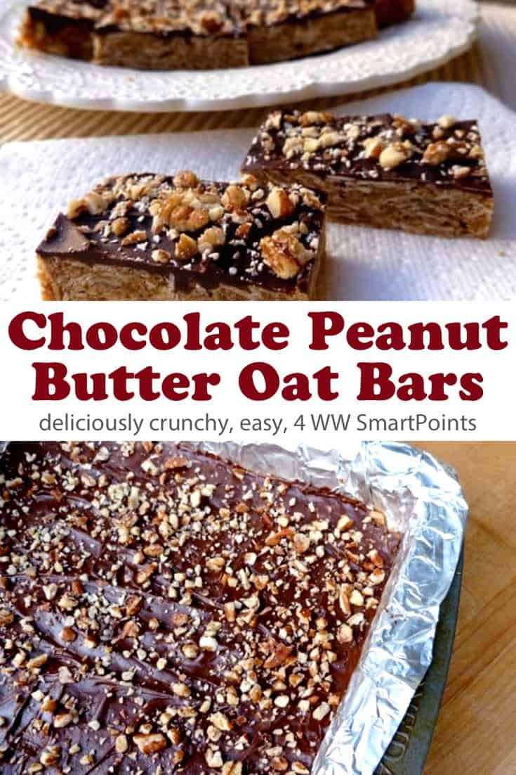 Deliciously lightened up crunchy peanut butter oat cookie bars topped with chocolate & chopped nuts! #chocolatepeanutbutteroatbars #oatsies