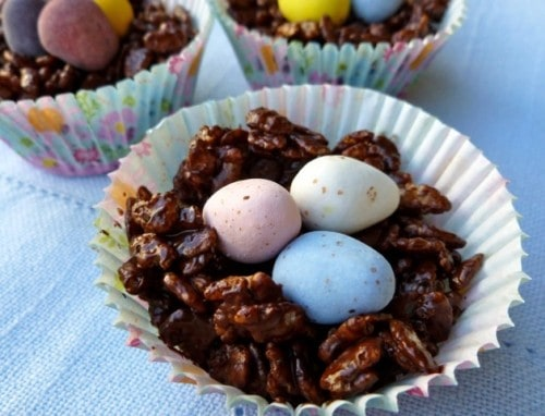 Chocolate Easter Egg Nests with Cadbury mini eggs in paper cupcake liners.