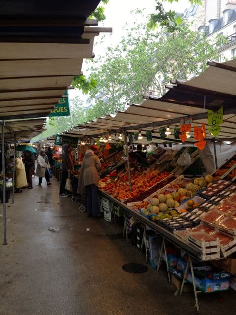 Market in France with Fresh Fruits and Vegetables