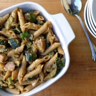 "Rustic Italian Zucchini ""Sauce"" with Penne and Chicken Sausage"