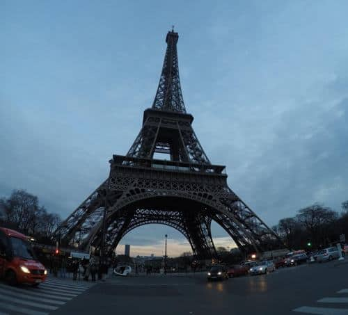 Eiffel Tower in Paris, France, at dusk